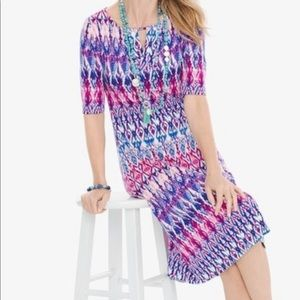 CHICO'S petite pastel ikat keyhole dress